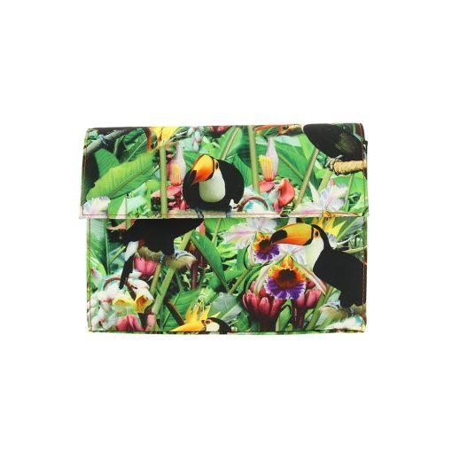 Encanto, tela exclusiva flores tropicales y tucanes, 18x23x7 cm (1)